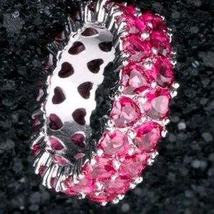 30 Ct.t.w. Ruby Double Heart Infinity Band Ring